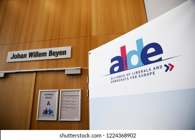 A banner of ALDE (Alliance of Liberals and Democrats for Europe group) party stands inside of European Parliament in Brussels, Belgium in Brussels, Belgium on Nov. 6, 2018