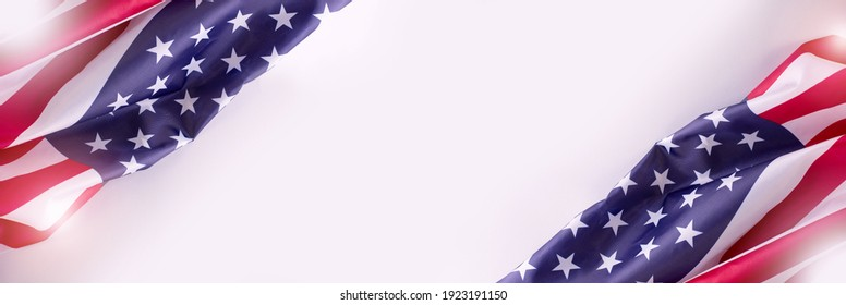 Banner with American Flag on the grey background with empty space for text. Border for Independence day or Veteran's day.