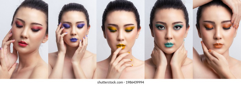 Banner Asian woman colorful makeup collage. Fashion cosmetics makeup. Makeup eyeshadow with extreme long false eyelashes. Beautiful portrait Asian model.