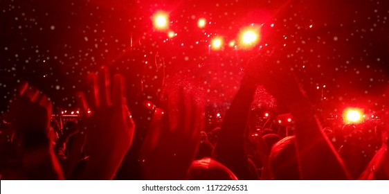 Banner Background Concert audience with Red lights at Festival
