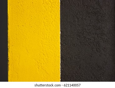 Banner, background of yellow black stripes. The sign is cautious, danger.