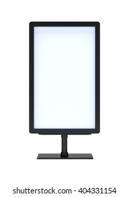 Banner with blank screen on isolated white background. 3D rendering