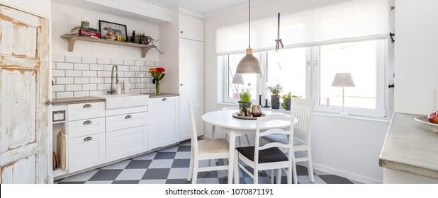 Banner of a Bright clean fancy scandinavian kitchen interior