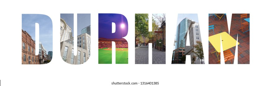 Banner collage of Durham, NC images, including renovated tobacco warehouses, isolated on white