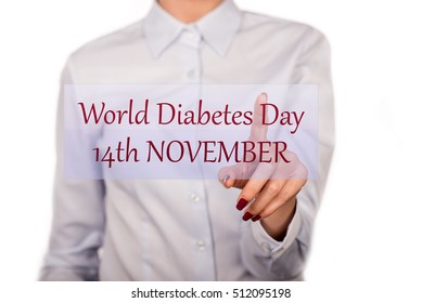 Banner with commemorative design to remind you the World Diabetes Day in November 14.Commemorative poster - reminder date of World Diabetes Day.