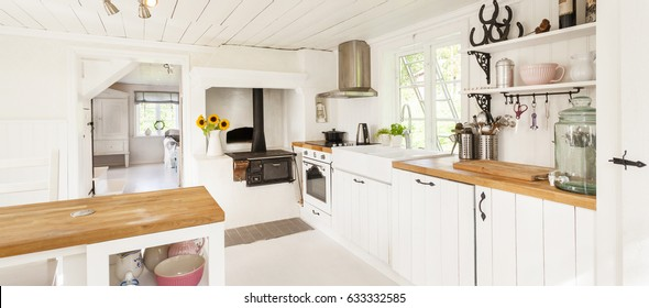 banner of a country house kitchen with shabby chic interior