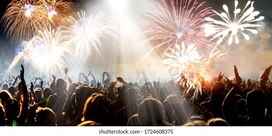 banner of crowd and fireworks celebration concept