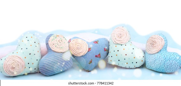 Banner Decorative textile heart handmade. Blue background View from above the Concept of Valentine's day Flat lay