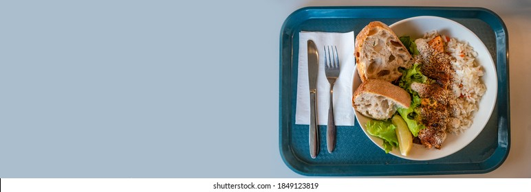 Banner with delicious and appetizing grilled red fish, homemade bread, rice and salad served at a tray with fork and knife with light blue smooth background for copy space text, details, closeup