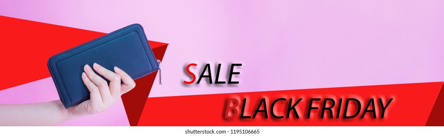 banner design for black friday sale concept from left woman hand hold her blue purse with text and pink pastel background