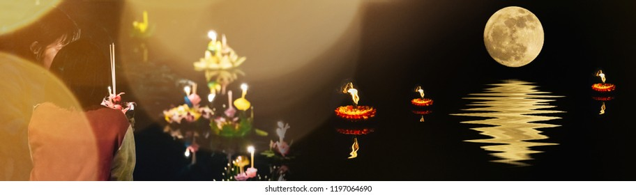 banner design and holiday concept from lantern festival with people pray and hold hand made krathong by flower from loykratong festival in thailand culture on november