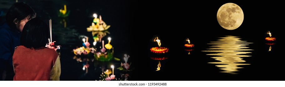 banner design and holiday concept from people pray and hold hand made kratong by flower from loykratong festival in thailand culture on november