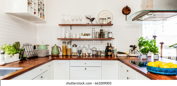 banner of fancy kitchen interior with wooden counter top