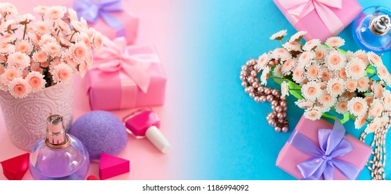 Banner Fashion women accessories cosmetics flowers bouquet gift box bow cocktail on pink background gradient blue. Top view fla tlay copy space