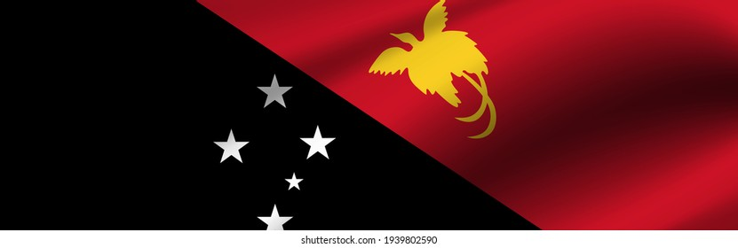 Banner with the flag of Papua New Guinea. Fabric texture of the flag of Papua New Guinea.