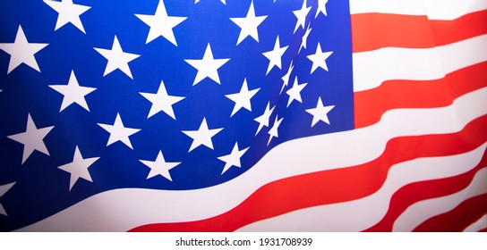 Banner of flag of United States of America waving .