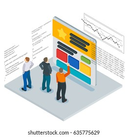 Banner in a flat 3d isometric style. Optimization of websites. People and the website page. Infographics and program code. People Web site development. Web site analytics service. Raster image