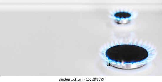 Banner. Gas-burner. Natural gas in the house. Bhutan, propane. Copy space.