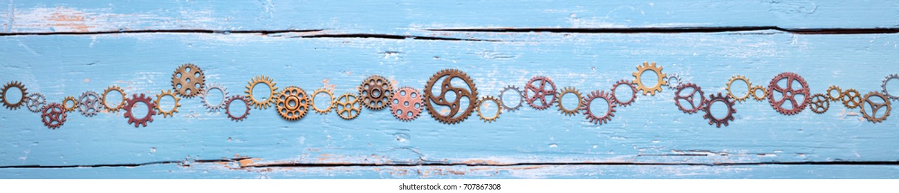 banner, lot of gears on blue background, concept teamwork and cohesion