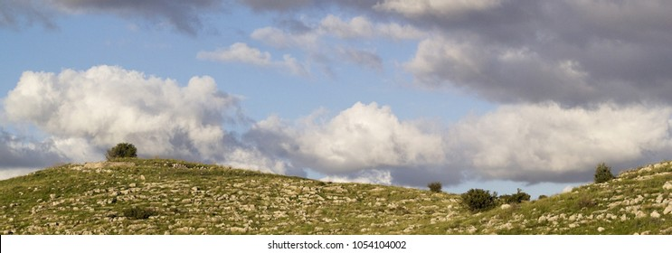 Banner -Green fields and the Samarian Hills landscape in the spring,Sunny Day, Israel