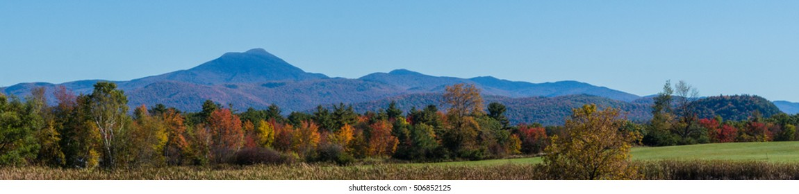banner of the Green Mountains of Vermont in Fall