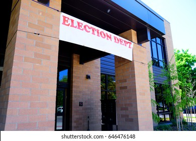 Banner hangs above the doorway of a Election Department
