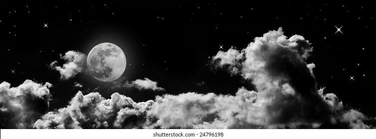 banner - header size detailed moon and cloud