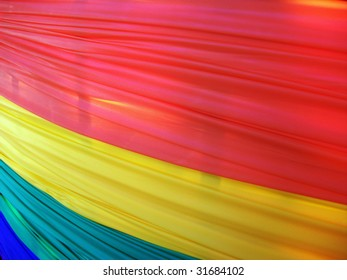 Banner hung along a fence for Gay Pride Week in Washington