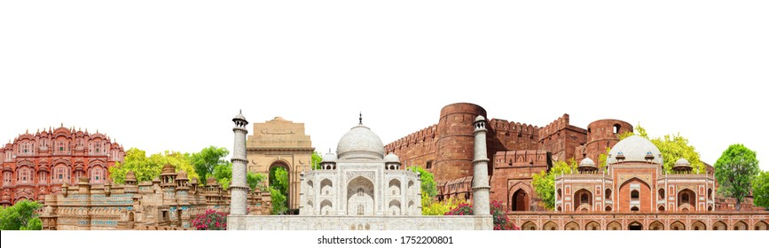 Banner with indian landmarks isolated on white background