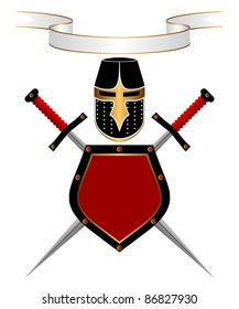 Banner, knightly helmet, shield and swords on a white background. A heraldic composition. EPS version is available as ID 84817768.