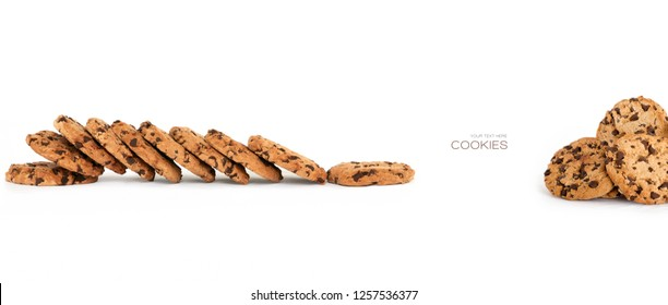 Banner with lots of delicious freshly baked crunchy homemade chocolate chip cookies isolated on white with copyspace