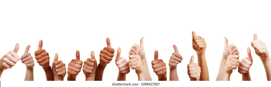 Banner with many different thumbs pointing upwards against white background