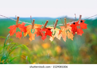 banner with the name and the word autumn carved on red maple leaves hanging on clothespins and rope in the autumn Sunny Park
