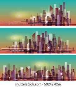 banner night cityscape header set