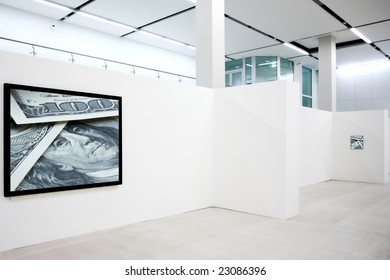 Banner on exposition with photo of dollar banknotes