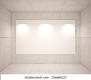 Banner on wall with lamps