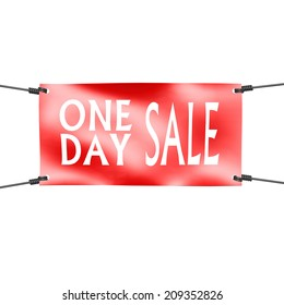 Banner one day sale with four ropes on the corner