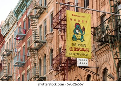 The banner for The Original Chinatown Ice Cream Factory hanging outside the exterior of the business. New York City, NY, USA on August 27, 2016.