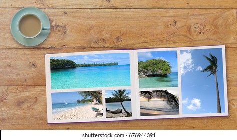 Banner Photobook Album with Travel Photo on Wooden Table background  and Coffee or Tea in Cup