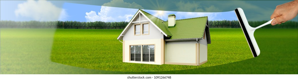 banner with a picture of a scraper for cleaning windows with a house on a green background