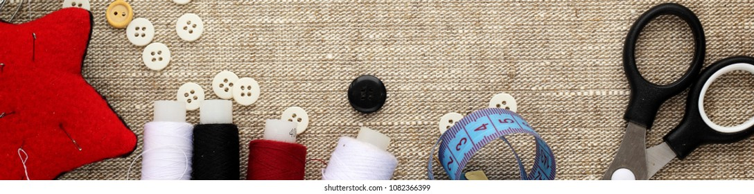 Banner Pin Cushion Needlesthread Buttons Sewing Stock Photo Edit Now 1082366399