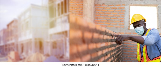 Banner of Professional engineer check bricklayer at construction site for building house which install bricks by a worker. Architect measures masonry bricks layer, cement with industrial standard