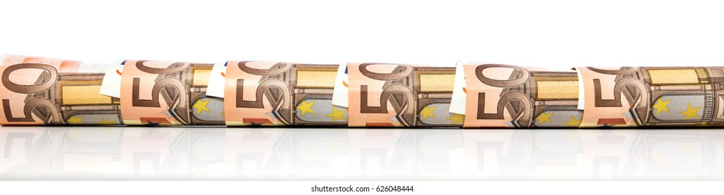 banner with rolled fifty euro notes in front of a white background
