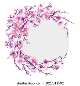 Banner, round frame with pink sakura flower. Watercolor hand drawn painting illustration isolated on white background.