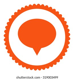 Banner round stamp icon. This flat glyph symbol is drawn with orange color on a white background.