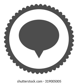 Banner round stamp icon. This flat glyph symbol is drawn with gray color on a white background.