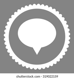 Banner round stamp icon. This flat glyph symbol is drawn with white color on a gray background.