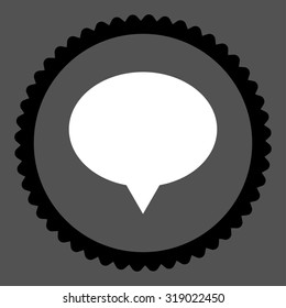 Banner round stamp icon. This flat glyph symbol is drawn with black and white colors on a gray background.