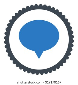 Banner round stamp icon. This flat glyph symbol is drawn with smooth blue colors on a white background.