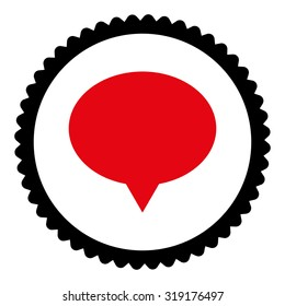 Banner round stamp icon. This flat glyph symbol is drawn with intensive red and black colors on a white background.